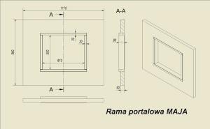 Фото чертежа и размера портала из МДФ HEBAN для топок Maja, Antek