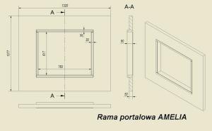 Фото чертежа и размера портала из МДФ темной ZEBRANO для топок Amelia, Felix