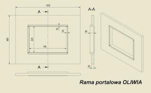 Фото чертежа и размера портала из МДФ темной ZEBRANO для топок Oliwia, Wiktor
