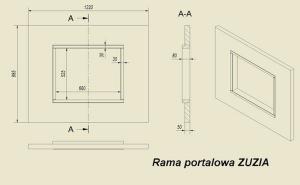 Фото чертежа и размера портала из МДФ темной ZEBRANO для топок Zuzia, Eryk