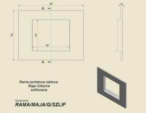 Фото чертежа и размера портала стальной для топок Maja/G и Antek/G
