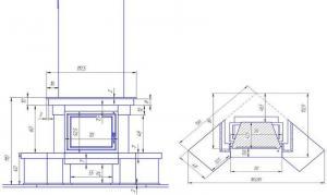 Фото чертежа и размера облицовки СЕЛИГЕР угловой (для топки Eryk 700)