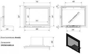 Фото чертежа и размера дверцы в сборе для топок Amelia/Felix
