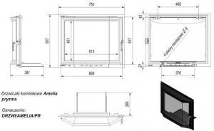Фото чертежа и размера дверцы в сборе для топок Amelia/Felix (призма)