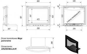 Фото чертежа и размера дверцы в сборе для топок Antek/Maja (панорама)