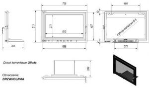 Фото чертежа и размера дверцы в сборе для топок Oliwia/Wiktor