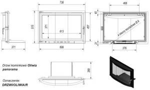 Фото чертежа и размера дверцы в сборе для топок Oliwia/Wiktor (панорама)