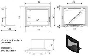 Фото чертежа и размера дверцы в сборе для топок Zuzia/Eryk (панорама)