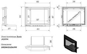 Фото чертежа и размера дверцы в сборе для топок Zuzia/Eryk (призма)