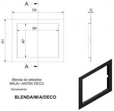 Фото чертежа и размера рамки к топкам Deco (Maja/Antek)