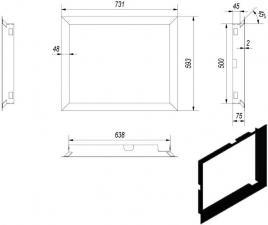 Фото чертежа и размера рамки к топкам MBZ