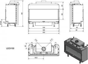 Фото чертежа и размера газовой топки LEO/100/LPG (баллонный газ)