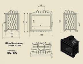 Чертеж и размеры дровяной каминной топки Kratki ANTEK/150