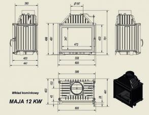 Чертеж и размеры дровяной каминной топки Kratki MAJA