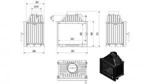 Чертеж и размеры дровяной каминной топки Kratki MAJA/DECO