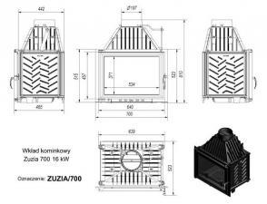 Чертеж и размеры каминной топки Kratki ZUZIA/700