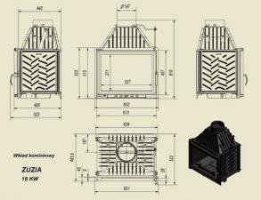 Чертеж и размеры каминной топки Kratki ZUZIA