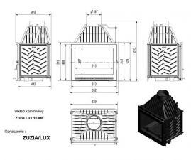 Чертеж и размеры каминной топки Kratki ZUZIA/LUX