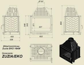 Чертеж и размеры каминной топки Kratki ZUZIA/EKO