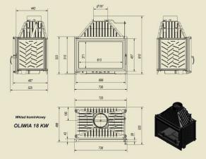 Чертеж и размеры каминной топки Kratki OLIWIA