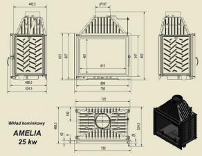Чертеж и размеры каминной топки Kratki AMELIA