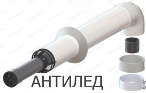 комплект коаксиального дымохода 60x100-750 с хомутом и втулкой