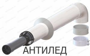 комплект коаксиального дымохода 60x100-750 с хомутом