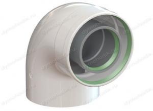 колено коаксиальное 60x100-90 для дымохода для газового котла