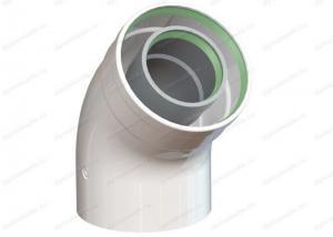 колено коаксиальное 60x100-45 для дымохода для газового котла