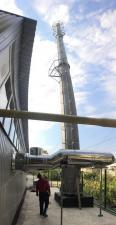 Смонтированный объект: самонесущая дымовая труба D=350х3 ствола, обечайка D=1050 мм, Высота Н=24 м