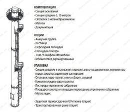 Комплектация самонесущей четырехствольной дымовой трубы 45 м
