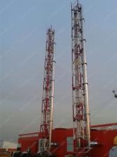Реализованный объект смонтированная ферма дымовой трубы D=500х600мм, 4шт. Н=24 м
