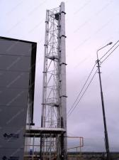 Реализованный объект смонтированная ферма дымовой трубы D=800х900 мм, 2шт. Н=32 м