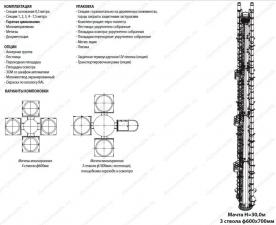 Комплектация опции упаковка и варианты компоновки несущей многогранной мачты 15 м