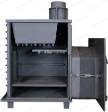 Чугунная Банная Печь Гефест ПБ-03 ЗК  (М, М, МС, П, ПС)  с закрытой каменкой сборка в 3-D