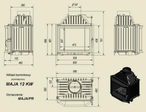 Чертеж и размеры каминной топки Kratki MAJA/PR