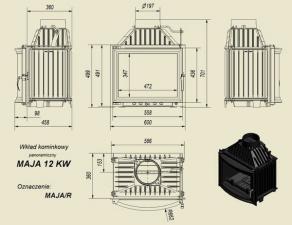 Чертеж и размеры каминной топки Kratki MAJA/R
