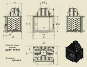 Чертеж и размеры каминной топки Kratki ZUZIA/PR