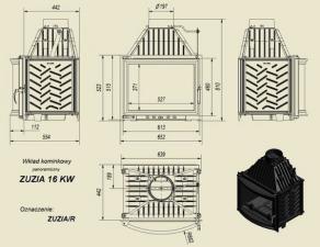 Чертеж и размеры каминной топки Kratki ZUZIA/R