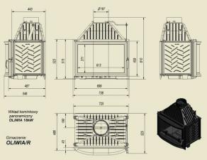 Чертеж и размеры каминной топки Kratki OLIWIA/R