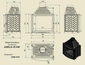Чертеж и размеры каминной топки Kratki AMELIA/R