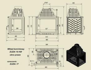 Чертеж и размеры каминной топки Kratki ZUZIA/P