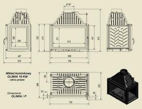 Чертеж и размеры каминной топки Kratki OLIWIA/P