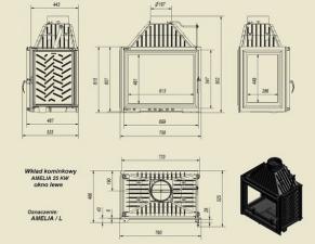 Чертеж и размеры каминной топки Kratki AMELIA/L