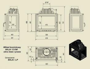 Чертеж и размеры каминной топки Kratki MAJA/LP