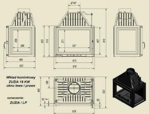 Чертеж и размеры каминной топки Kratki ZUZIA/LP