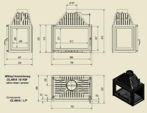 Чертеж и размеры каминной топки Kratki OLIWIA/LP