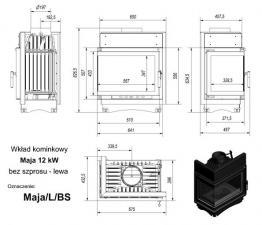 Чертеж и размеры каминной топки Kratki MAJA/L/BS
