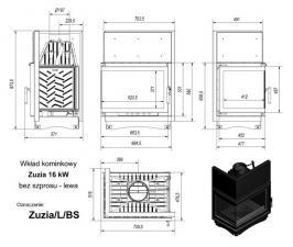 Чертеж и размеры каминной топки Kratki ZUZIA/L/BS
