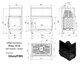 Чертеж и размеры каминной топки Kratki OLIWIA/P/BS